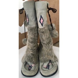 Steve Madden Gray Moccasin Boots 7